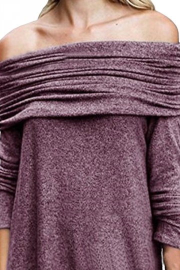 Womens Sexy Bandage Long Sleeve Plain Off Shoulder Top Purple