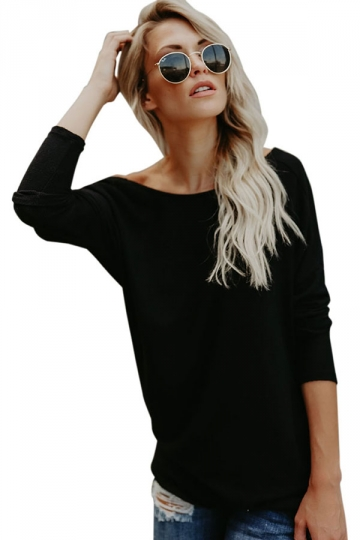 Womens Sexy Crew Neck Long Sleeve Plain Open Back T-Shirt Black