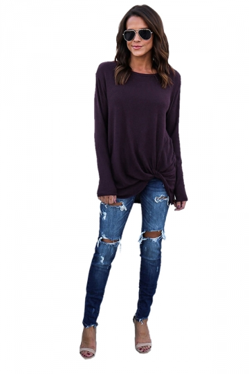 Womens Oversized Knot Crew Neck Long Sleeve Plain T-Shirt Purple