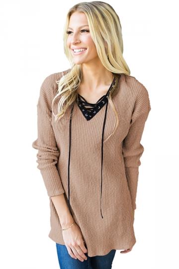 Womens V-Neck Lace Up Asymmetrical Hem Plain T-Shirt Khaki