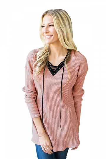 Womens V-Neck Lace Up Asymmetrical Hem Plain T-Shirt Pink