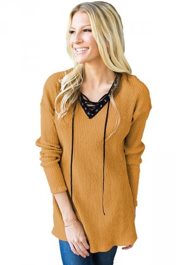 Womens V-Neck Lace Up Asymmetrical Hem Plain T-Shirt Yellow