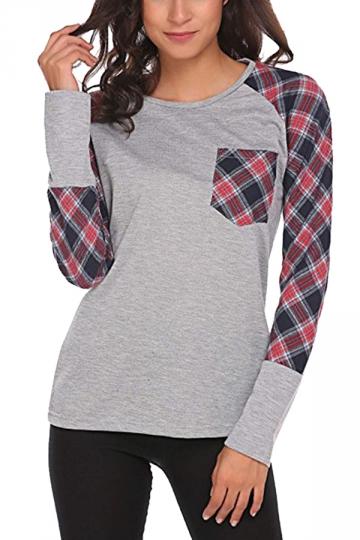 Womens Raglan Sleeve Pocket Plaid Pattern Crew Neck T-Shirt Gray