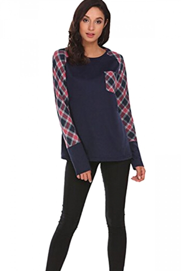 Womens Raglan Sleeve Pocket Plaid Pattern Crew Neck T-Shirt Navy Blue