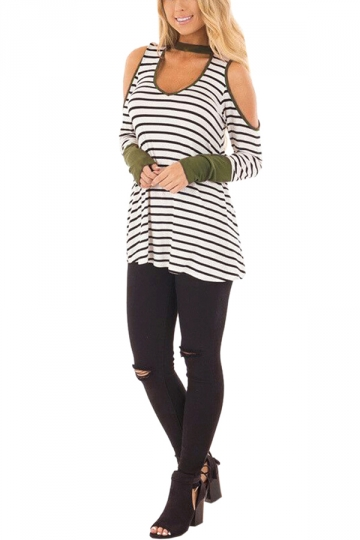 Womens Sexy Halter Cold Shoulder Crew Neck Striped T-Shirt Army Green