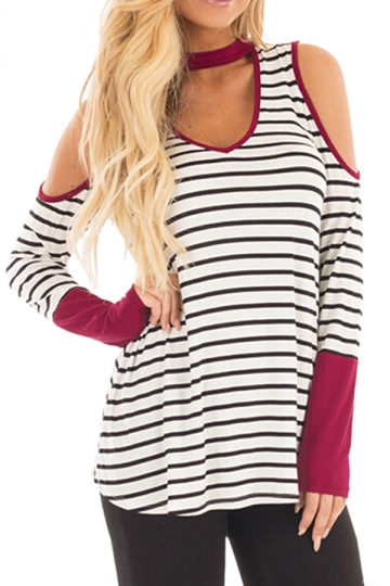 Womens Sexy Halter Cold Shoulder Crew Neck Striped T-Shirt Red