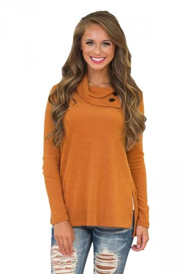 Womens Cowl Neck Button Side Slit Long Sleeve Plain T-Shirt Orange
