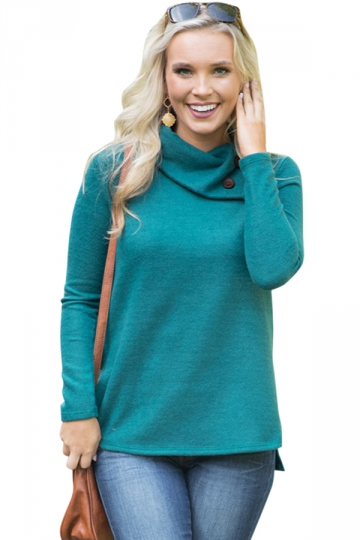 Womens Cowl Neck Button Side Slit Long Sleeve Plain T-Shirt Turquoise