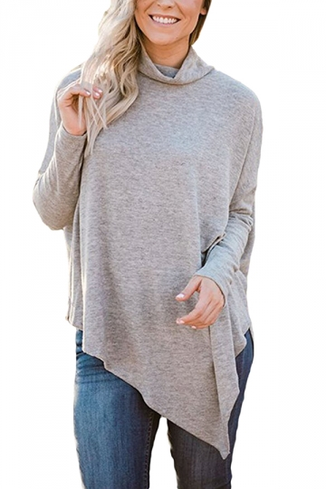 Womens Plus Size Oversized Asymmetric Hem High Collar Plain Top Gray