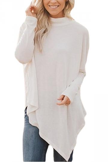 Womens Plus Size Oversized Asymmetric Hem High Collar Plain Top White