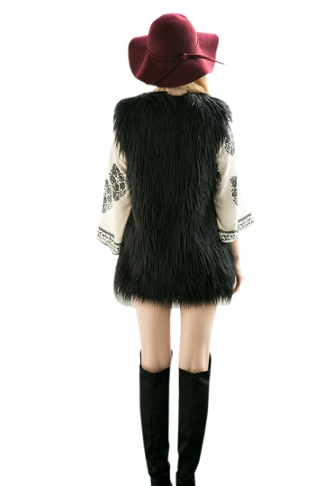 Womens Stylish Sleeveless Midi Length Faux Fur Plain Vest Black