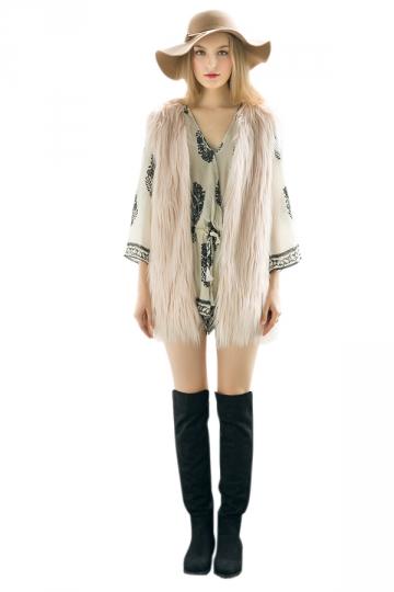 Womens Stylish Sleeveless Midi Length Faux Fur Plain Vest Light Pink