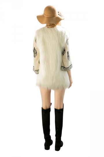 Womens Stylish Sleeveless Midi Length Faux Fur Plain Vest Beige White