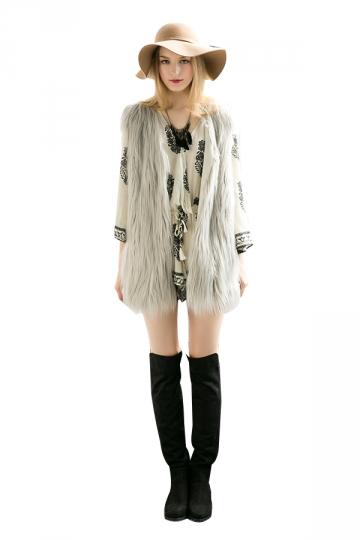 Womens Stylish Sleeveless Midi Length Faux Fur Plain Vest Gray