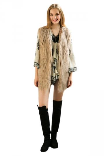 Womens Stylish Sleeveless Midi Length Faux Fur Plain Vest Khaki