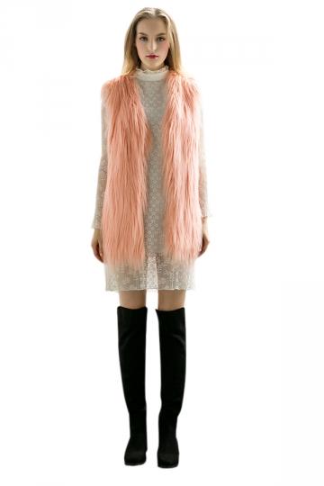 Womens Stylish Sleeveless Midi Length Faux Fur Plain Vest Pink