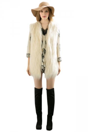 Womens Stylish Sleeveless Midi Length Faux Fur Plain Vest White