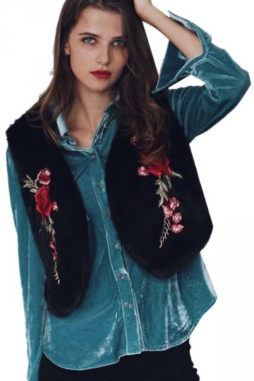 Womens Trendy Short V-Neck Sleeveless Embroidered Faux Fur Vest Black