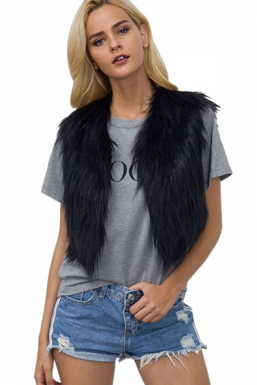 Womens Close-Fitting Sleeveless Faux Fur Short Plain Vest Black