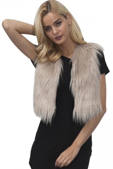 Womens Close-Fitting Sleeveless Faux Fur Short Plain Vest Khaki