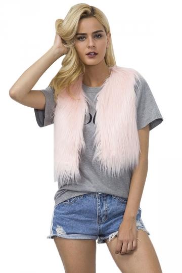 Womens Close-Fitting Sleeveless Faux Fur Short Plain Vest Pink