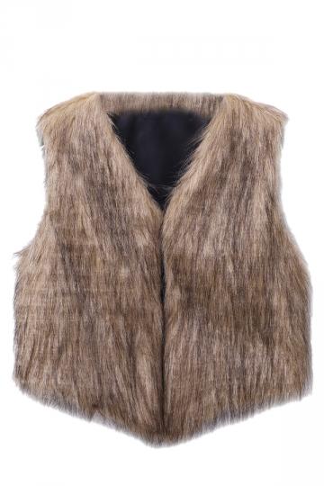 Womens Stylish V-Neck Short Sleeveless Faux Fur Plain Vest Brown