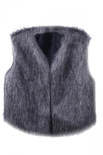 Womens Stylish V-Neck Short Sleeveless Faux Fur Plain Vest Dark Gray