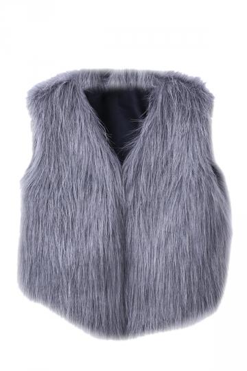 Womens Stylish V-Neck Short Sleeveless Faux Fur Plain Vest Gray
