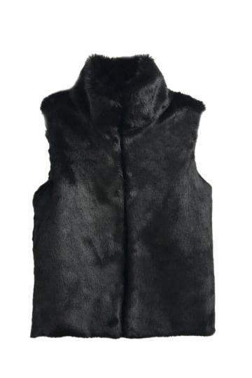 Womens Warm Stand Collar Sleeveless Faux Fur Plain Vest Black