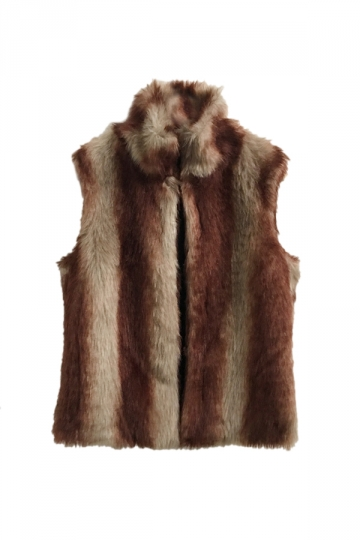 Womens Warm Stand Collar Sleeveless Faux Fur Plain Vest Brown