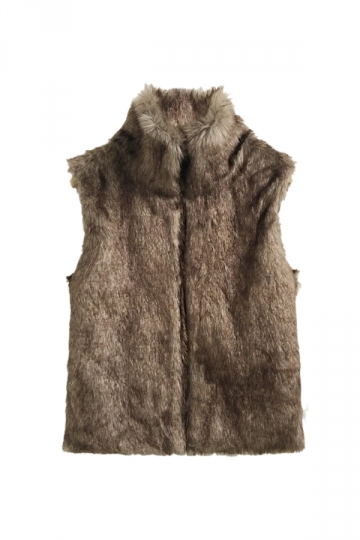 Womens Warm Stand Collar Sleeveless Faux Fur Plain Vest Coffee