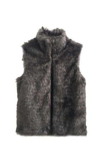 Womens Warm Stand Collar Sleeveless Faux Fur Plain Vest Dark Gray