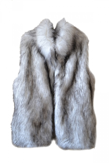 Womens Warm Stand Collar Sleeveless Faux Fur Plain Vest Gray