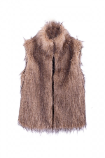 Womens Warm Stand Collar Sleeveless Faux Fur Plain Vest Khaki