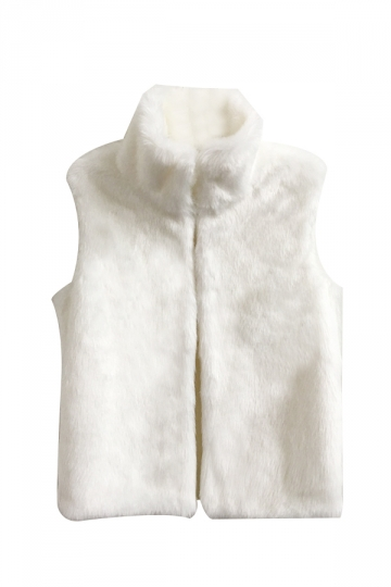 Womens Warm Stand Collar Sleeveless Faux Fur Plain Vest White