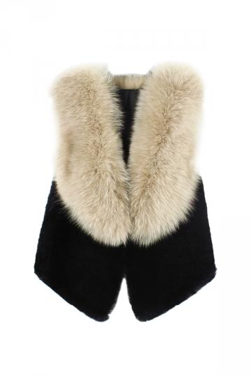 Womens Stylish Sleeveless Asymmetric Hem Faux Fur Vest Apricot