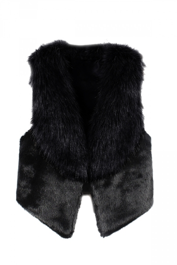 Womens Stylish Sleeveless Asymmetric Hem Faux Fur Vest Black