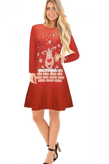 Womens Crew Neck Long Sleeve Reindeer Printed Christmas