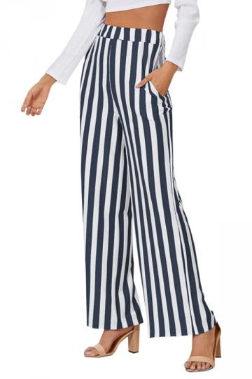 Womens High Waist Wide Legs Vertical Stripe Leisure Pants