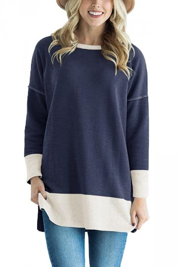 Womens Crew Neck Long Sleeve Color Block Loose Sweatshirt