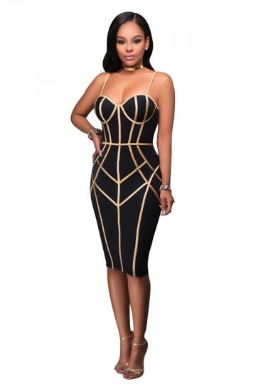 Womens Spaghetti Straps Tube Sequins Zipper Bodycon Club Dress Black