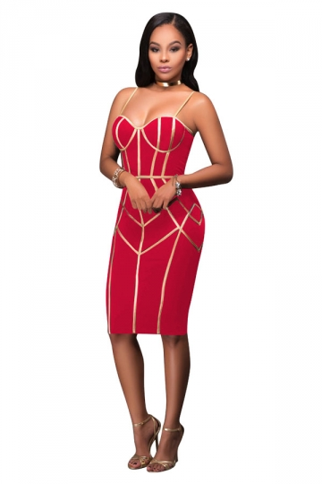 Womens Wrapped Chest Sequins Zipper Bodycon Club Dress Watermelon Red