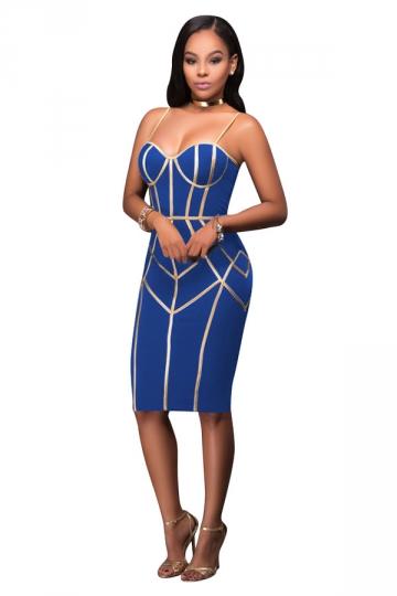Womens Wrapped Chest Sequins Zipper Bodycon Club Dress Sapphire Blue