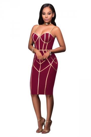 Womens Spaghetti Straps Tube Sequins Zipper Bodycon Club Dress Ruby