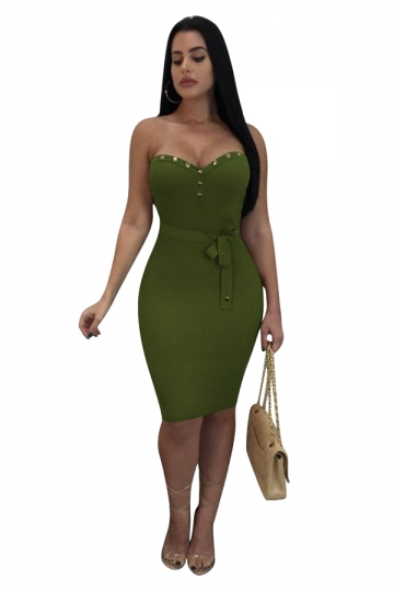 Womens Off Shoulder Sleeveless Studded Bodycon Club Dress Oliver Green