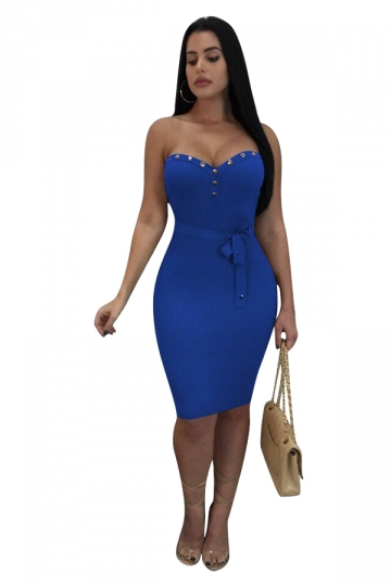 Womens Sexy Off Shoulder Studded Belt Bodycon Club Dress Sapphire Blue