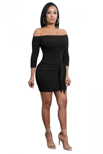 Womens Off Shoulder Long Sleeve Pleated Bodycon Clubwear Dress Black