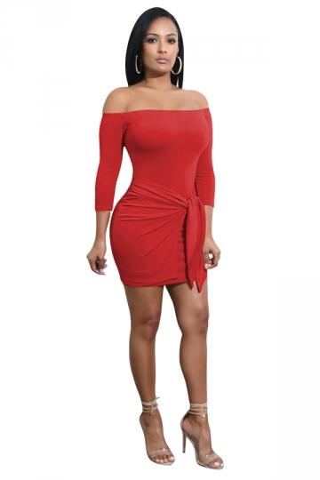 Womens Sexy Off Shoulder Pleated Waist Tie Bodycon Clubwear Dress Red