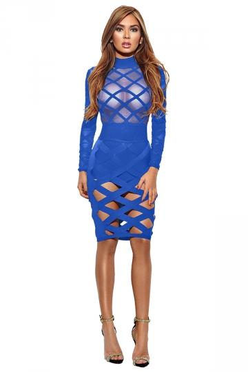 Womens Long Sleeve Sheer Bandage Cut Out Bodycon Clubwear Dress Blue