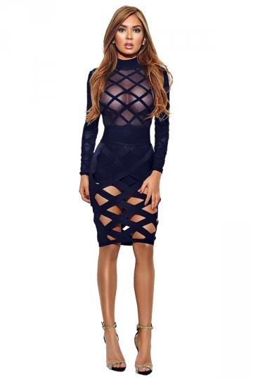 Womens Sexy Long Sleeve Sheer Bandage Bodycon Clubwear Dress Navy Blue